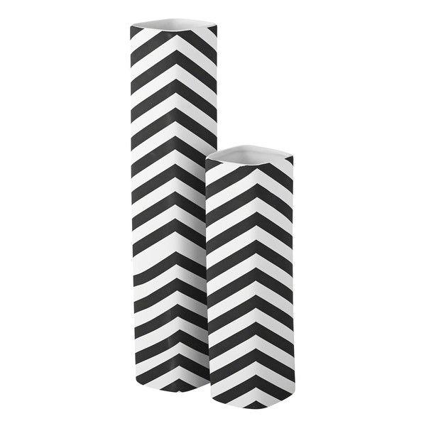 Chevron Diamond Matte black and white tall vases. Midcentury Modern tabletop decor for your modern tablescapes. Chevron vases and interior design objects.
