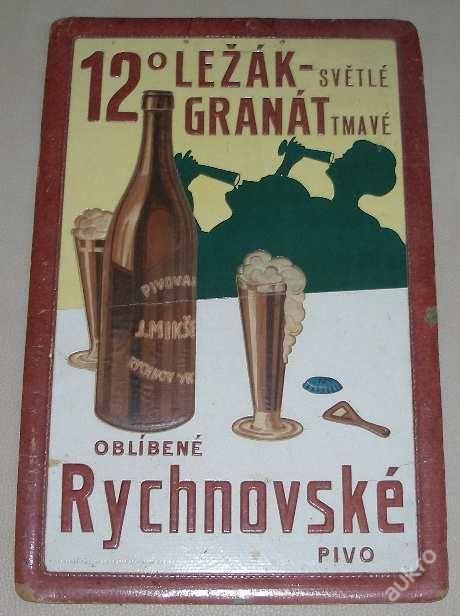 předválečná papírová pivní cedule z rychnovského pivovaru
