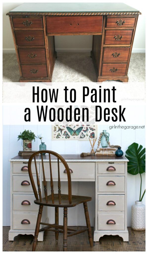 How To Chalk Paint A Desk Girl In The Garage In 2020 Painted Desk Diy Furniture Paint Wooden Desk