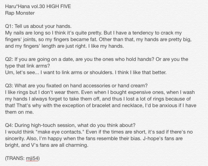 [TRANS] Haru*Hana Vol 30 #BTS Rap Monster (cr. mji54) I wish I was his friend, not girlfriend, just friend. Bts seems like such cool people☺️