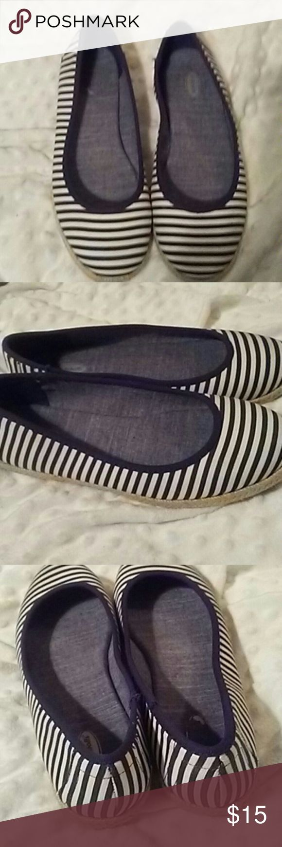 Dr. School's Blue and White Stripe Flat Really cute blue and white flat sneakers by Dr. Scholl's. Super comfortable padded inside. Only worn once. Style is Palma. Dr. Scholl's Shoes Flats & Loafers