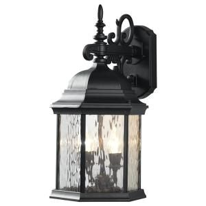Hampton Bay 9.5 in. 2-Light Oil-Rubbed Bronze LED Decorative Water Glass Outdoor Wall Lantern Sconce with Fixed Flame Tip-74101/HD
