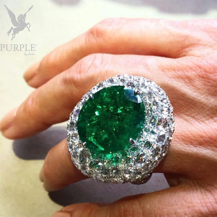 Want to dazzle the crowd? Try this emerald and rose-cut diamond ring by…