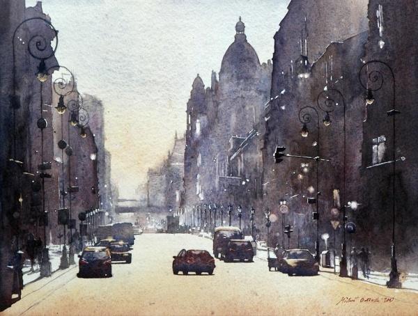 watercolor art by Michal Orlowski, Łódź
