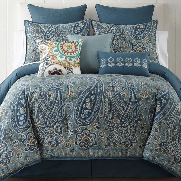 JCPenney Home Belcourt 4-pc. Comforter Set ($240) ❤ liked on Polyvore featuring home, bed & bath, bedding, comforters, queen comforter, blue queen comforter set, king size comforter sets, blue queen comforter and oversized king comforter