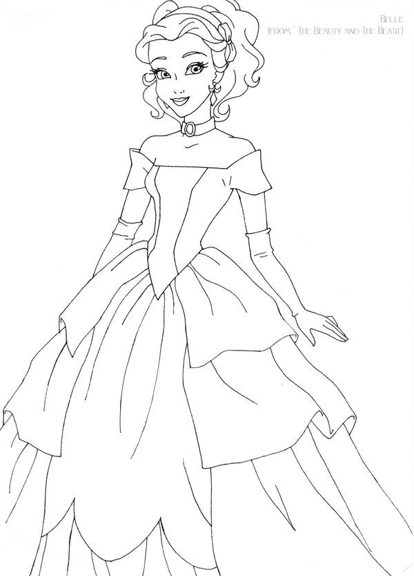 Belle deluxe gown lineart by LadyAmber on DeviantArt