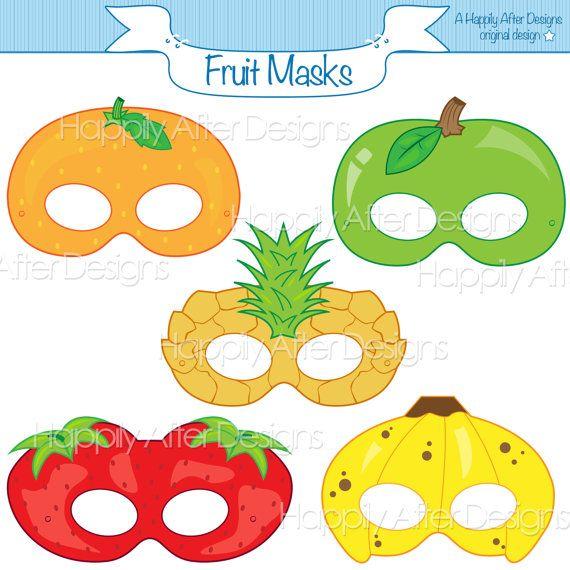 Fruits Printable Masks, strawberry mask, banana mask, orange, apple, pineapple, fruit costume mask, fruits, apple costume, printable mask