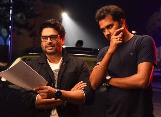 From the sets! R Madhavan with #ChandooMondeti on the sets of #Savyasachi.