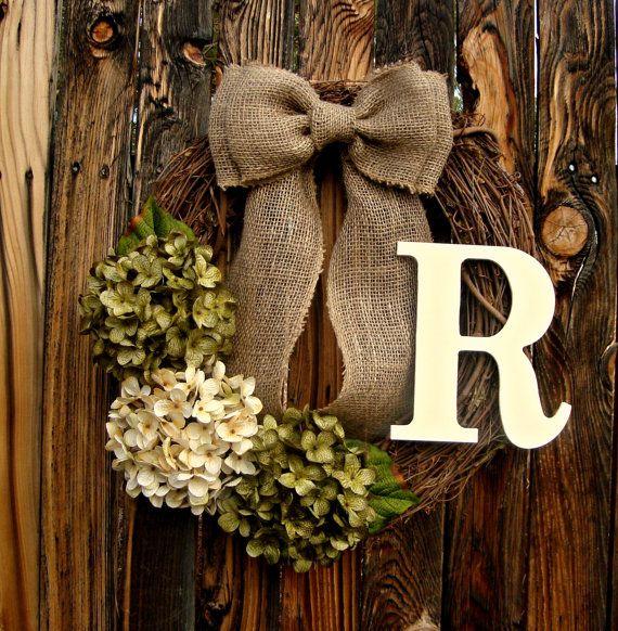 Green and Cream Hydrangea Wreath Mongram by Frontporchdecor, $46.00