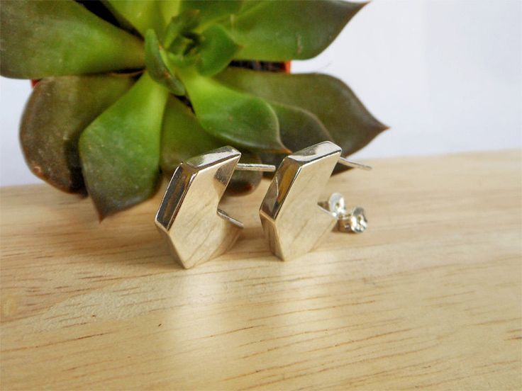 Modern Women 3D Silver Geometric Concave Hexagon Earrings,Geometric Earring,Modern Earring,Women Earring,Personalized Gifts,Gifts For Girls by Supsilver on Etsy