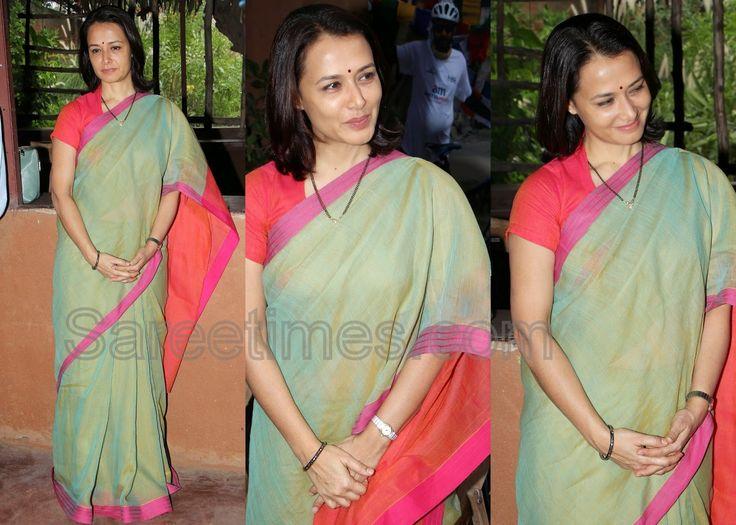 South Indian actress Amala in green uppada silk sari with pink border