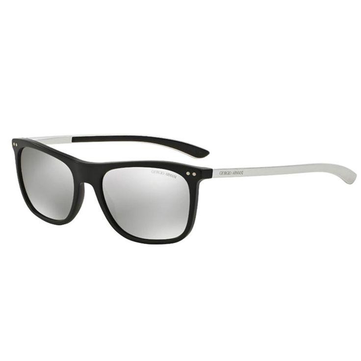 Giorgio Armani 0AR8048Q 50426G. Occhiale uomo da sole Armani. Montatura con frontale in celluloide di colore nero e aste in metallo color argento. Forma squadrata e lenti specchiate argento.