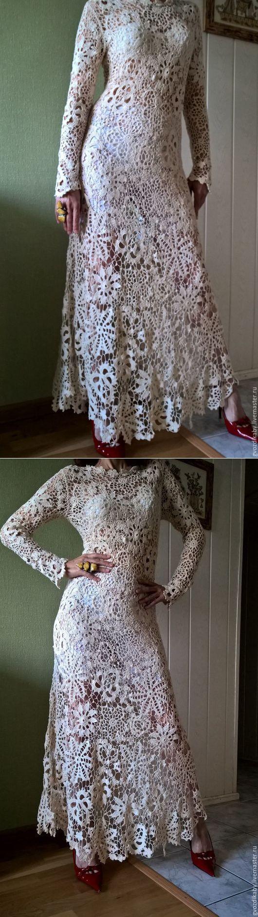 Купить Бежевое длинное платье крючком . Ирландское кружево ,ирландское вязани - цветочный, ирландское кружево