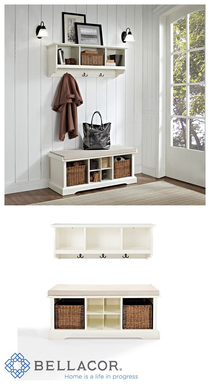 Organize your entryway with a sophisticated bench set that's built to last. This cubby bench has several slots for storing shoes and other small items, and also makes for a comfortable seat. Included baskets allow for storage of scarves, gloves, and hats while adding a beautiful touch to your entryway. http://www.bellacor.com/productdetail/crosley-furniture-kf60001wh-brennan-white-two-piece-entryway-bench-and-shelf-set-1533902.htm?partid=social_pinterestad_1533902_collage