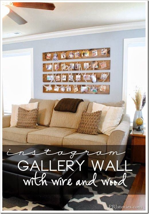 Gallery wall built with wire and wood using Persnickety Prints' instagram pictures