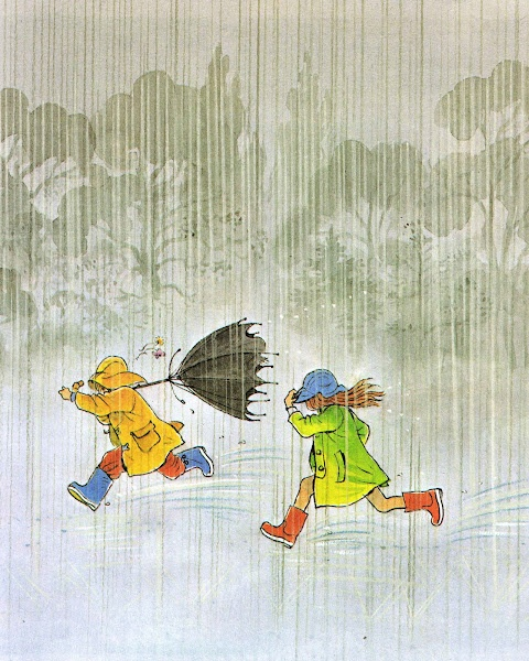S is for Peter Spier. Our family has many well worn books filled with Mr. Spier's detailed drawings. This is from RAIN, shared by Vintage Kids' Books My Kid Loves. #literacymonth  @halfpricebooks