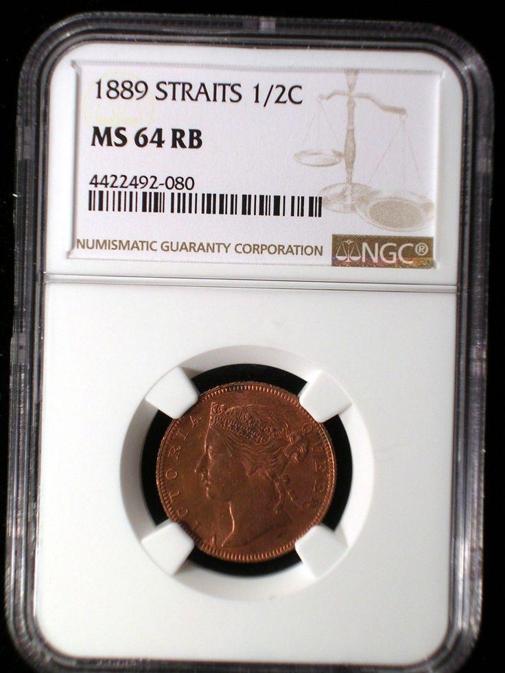 Straits Settlements 1889 1/2 Cent *NGC MS-64 RB* Malaysia Rare This Nice