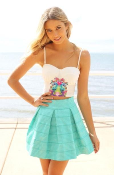 Mint Skirt Cute Crop Top http://www.studentrate.com/fashion/fashion.aspx find more women fashion ideas on www.misspool.com