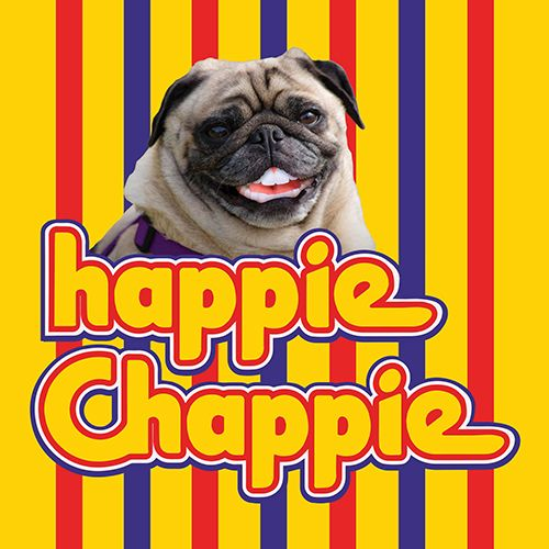 Happie Chappie celebrate card for Kinky Rhino Greeting Cards in South Africa #southafricancard #southafrica #card #celebrate #pug #chappies #gum #sweets #food #south #africa