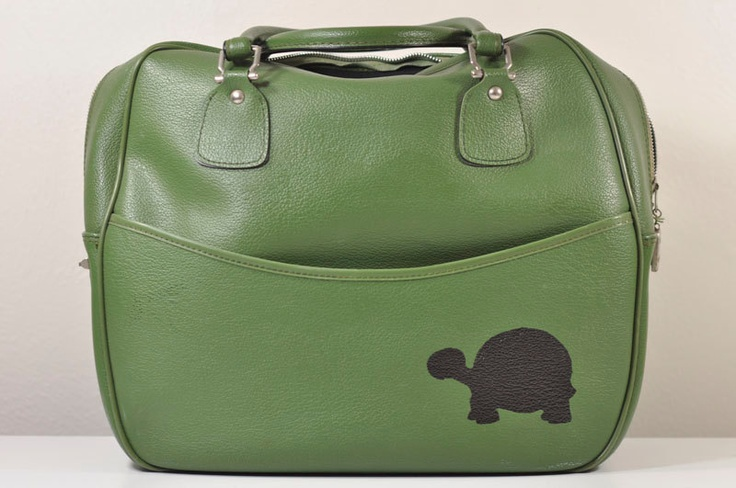 Vintage Moss Green Carry-on Weekender Bag with Hand Painted Turtle...  etsy.com