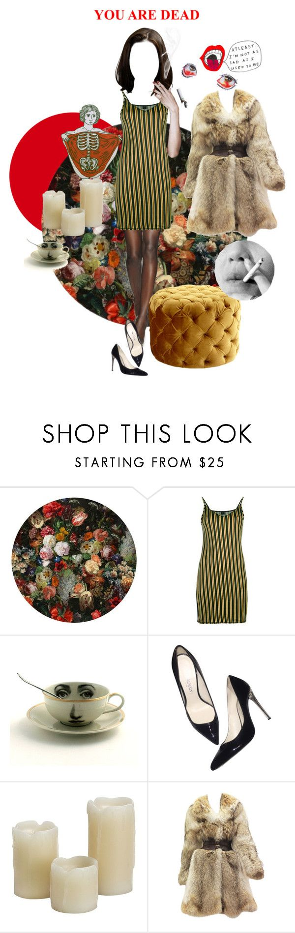 """""""a cheap and drunken purgatory"""" by midnightcrew ❤ liked on Polyvore featuring Moooi, Jean-Paul Gaultier, Balmain, Inglow, Alexander McQueen and Cyan Design"""