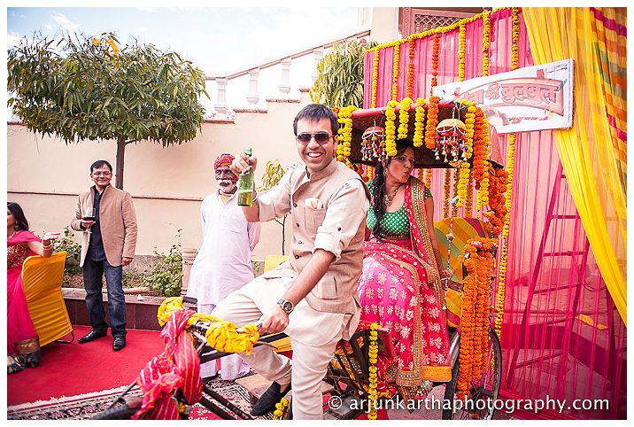 Riding off with the bride in his rickshaw, Mayank looks totally prepared to be married in exactly one day.