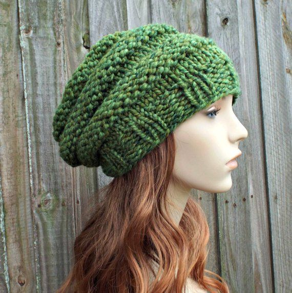 ff4c14c360faee Chunky Knit Hat Womens Slouchy Beanie - Beehive Beret Spearmint Green Knit  Hat - Green Hat Green Beret Green Beanie - READY TO SHIP