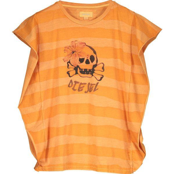 Diesel Orange Stripe Skull Print Batwing T-Shirt ($15) ❤ liked on Polyvore featuring tops, t-shirts, orange top, skull graphic tees, stripe tee, skull top and orange t shirt