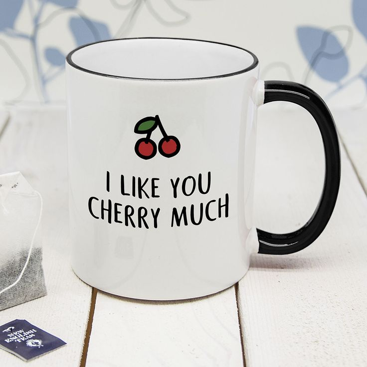 A fun and cheeky pun-tastic mug!  Made from solid ceramic with a stylish black rim & handle.  Personalise with a short message on the reverse of the mug.  A fantastic gift for Valentine's Day!