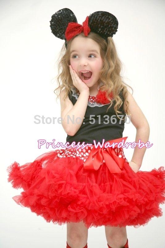 Минни талия красный юбка черный Pettitop в белый красные точки шнуровкой комплект 1-8Y MAPSA522