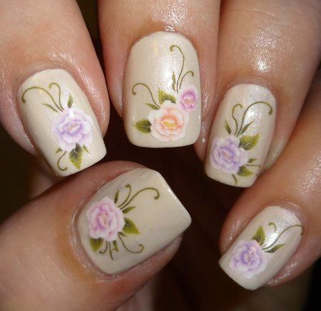 Sparkly Nails English Garden Water Decals #nailart #neutral #polish #floral - bellashoot.com
