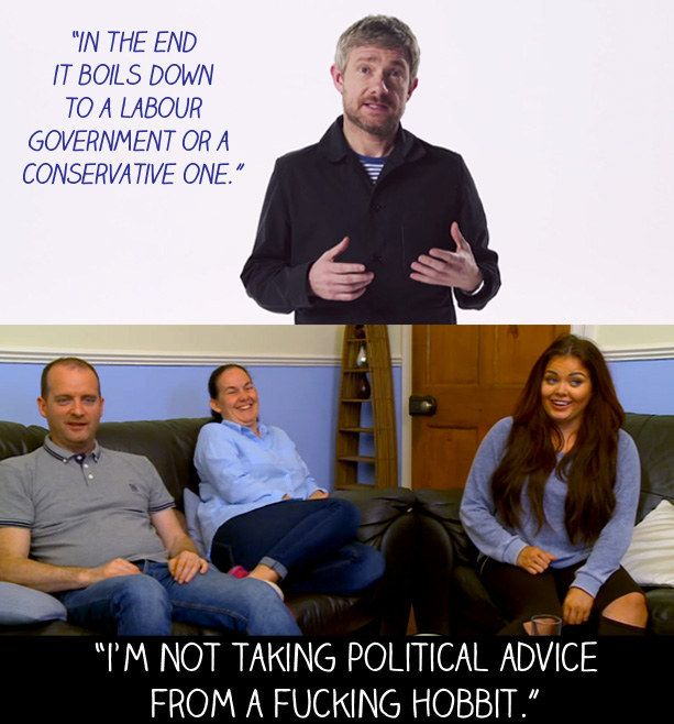 "When Martin Freeman did a political video for the Labour Party ahead of the 2015 general election. | 15 Times Scarlett From ""Gogglebox"" Said What We Were All Thinking"