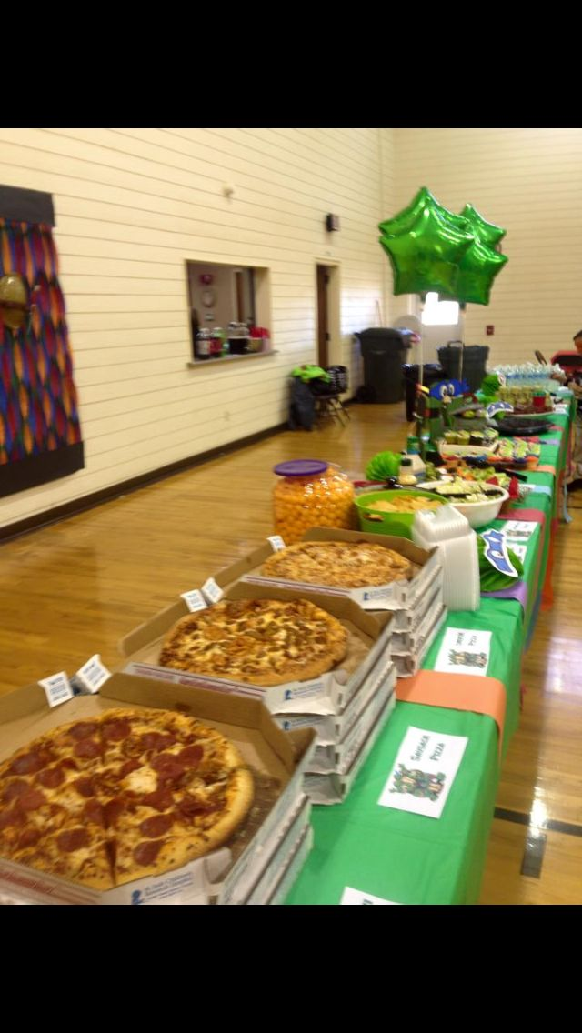 Ninja Turtle Birthday Party decorations, food and games! Food tables! Yum!