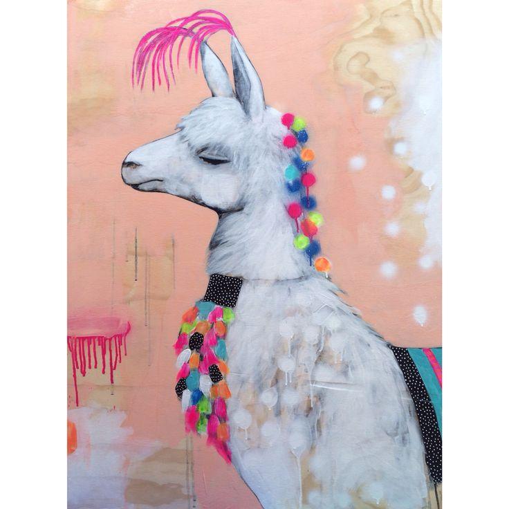 Hold Your Head High. For #fentonanfenton #schoolsagift #praceofartexhibition charity auction for educating children in Ethiopia #theartofcatlee #catlee #llama #artwork #animal #decorate #interiors www.theartofcatlee.com