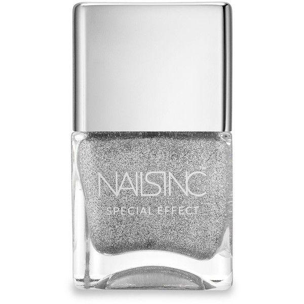 Nails inc Electric Avenue Nail Polish/0.47 oz. found on Polyvore featuring beauty products, nail care, nail polish, nails, beauty, makeup, maquillaje, apparel & accessories, silver nail polish and glitter nail polish