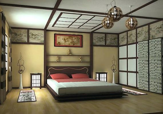 Japanese style bedroom, like horizontal  pictures.