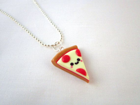 Kawaii Pizza Food Polymer Clay Pendant Necklace by DoodieBear, $9,00