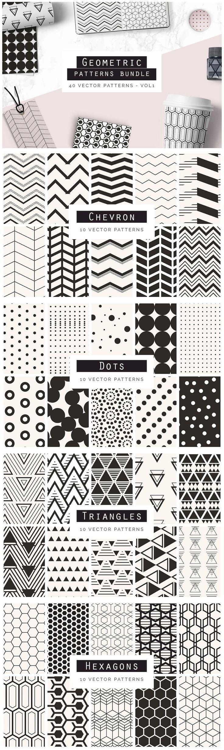 Geometric Patterns Bundle V1 - A great bundle of 40 Geometric Seamless Vector Patterns. These patterns are ...