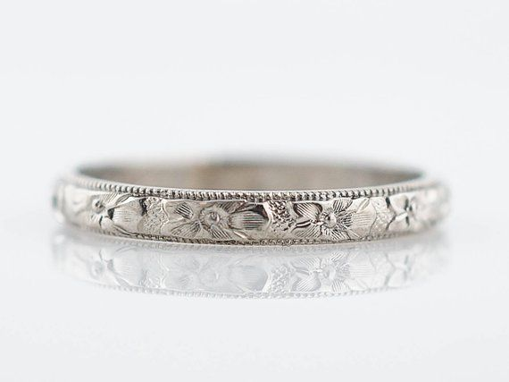 Antique Wedding Band Art Deco Orange Blossom In 14k White Gold Etsy Antique Wedding Bands Antique Wedding Rings Wedding Rings Vintage