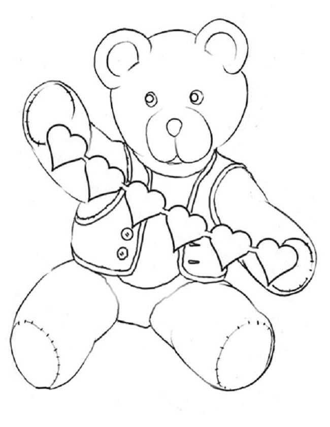 Valentines Day Teddy Bear Coloring Pages