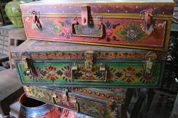 Hand painted old metal trunks found on our recent India buying trip www.tierradellagarto.com