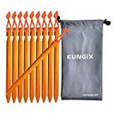 "Kungix Tent Stakes Pegs 7"" Aluminium Alloy with Reflective Rope 10-Piece"