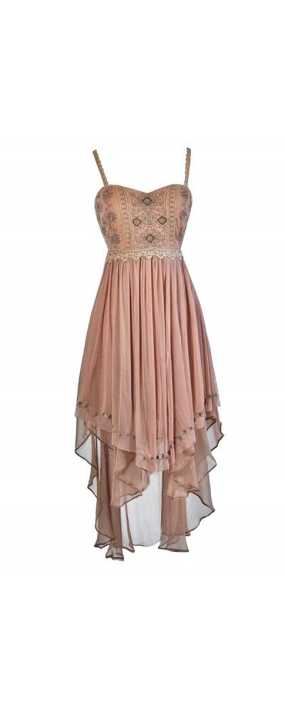 Ren Faire Maiden Metallic Embroidered High Low Dress in Mocha  www.lilyboutique.com