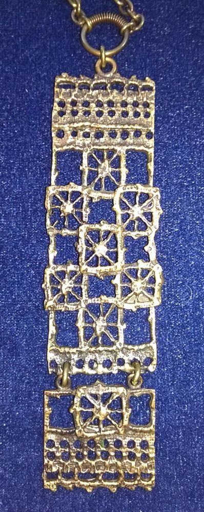Finland - Pentti Sarpaneva Finnish Design - 70's Pitsi Bronze Pendant with Chain #SarpanevaJewelry