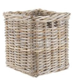 Rattan Square Basket: Grey rattan square basket with one handle on one side. Great storage basket. *Due to the handmade nature of the baskets sizes may vary slightly.