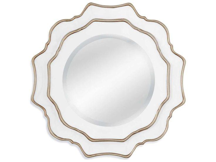 Bassett Mirror Old World Tabitha 30'' White and Silver Wall Mirror