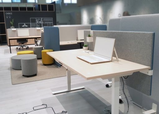 NARBUTAS @ ORGATEC 2016 | EASY sit-stand desk, MODUS adjustable height acoustic screen, GIRO poufs