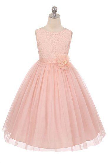 Gisella blush , lief jurkje met bewerkt lijfje en tule rok