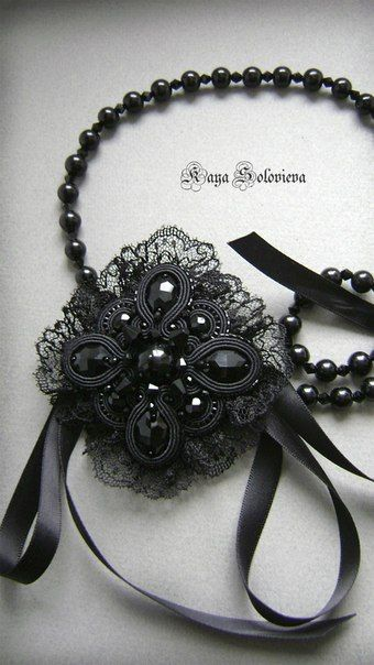 Soutache bead embroidery ~ black necklace by Kaya Solovieva