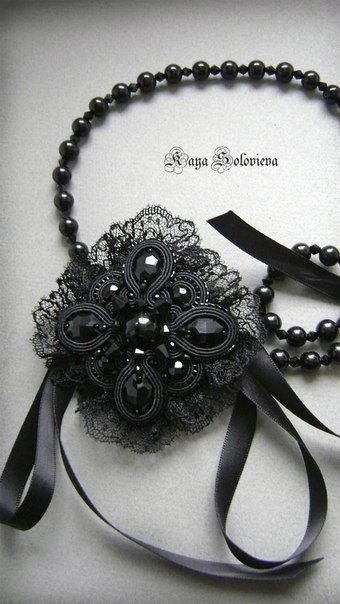 Soutache bead embroidery ~ black necklace by Kaya Solovieva